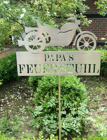 Edelstahl Gartenstecker Papas Feuerstuhl