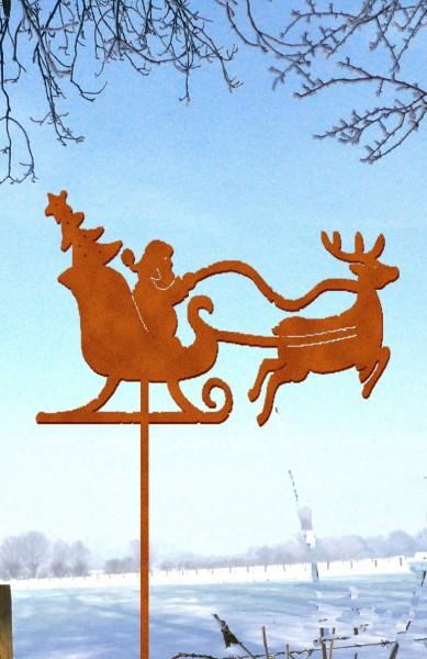 Gartenstecker Weihnachtsmann auf Schlitten