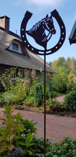 Gartenstecker Pferdekopf Hufeisen