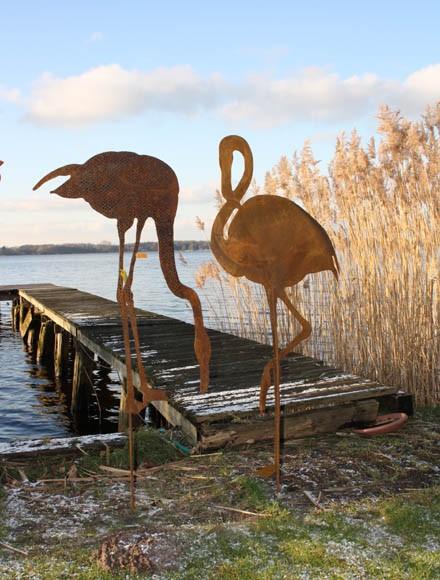 Edelrost Teichdekoration,Flamingo 2 XL