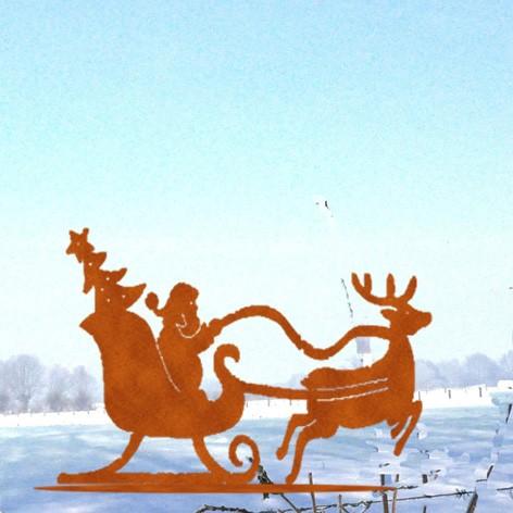 Weihnachtsdeko Weihnachtsmannschlitten auf Platte