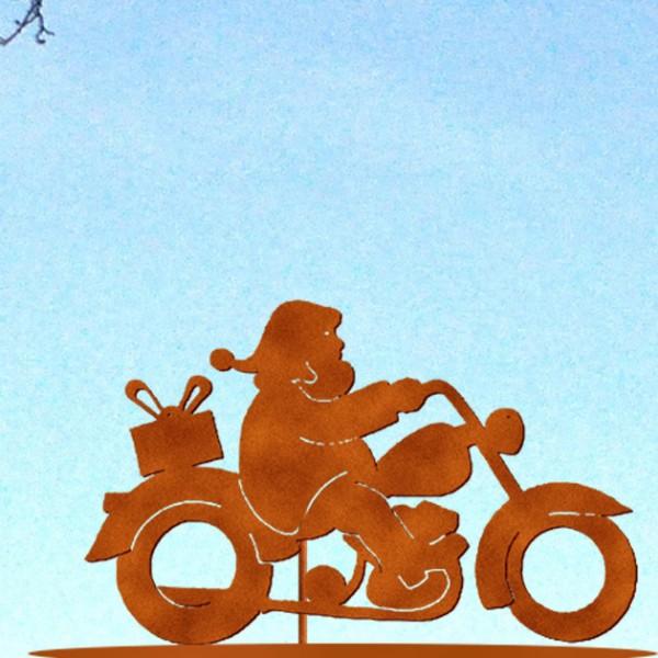 Weihnachtsmann auf Moped auf Platte