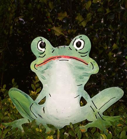 Frosch Gustav bunter Gartenstecker