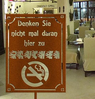 Hinweisschild für Raucher