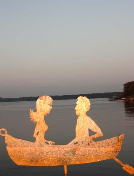 Edelrost Teichstecker Zwei in einem Boot