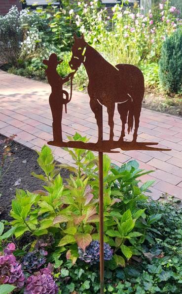 Edelrost Gartenstecker Pferd mit Reiterin