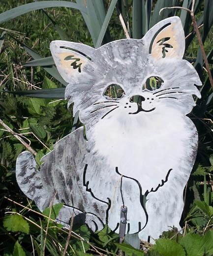 Katze Mietzi bunt Gartenstecker