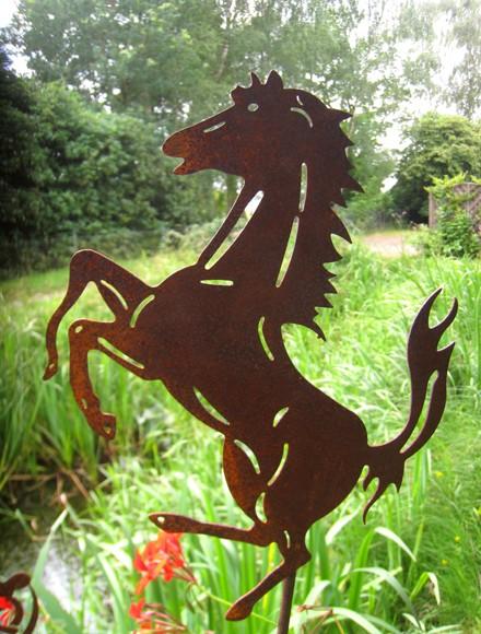 Edelrost Gartenstecker Pferd Fury