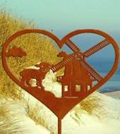 Mühle und Schäfchen im Herz