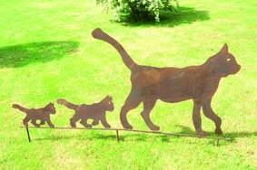 Edelrost Gartenstecker Katzenfamilie