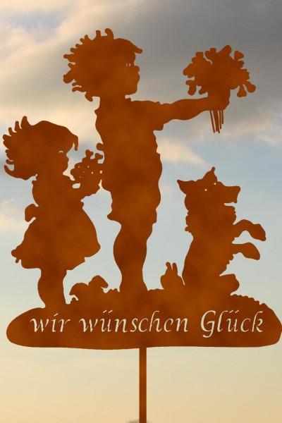 """Gartenstecker Rost """"wir wünschen Glück"""""""