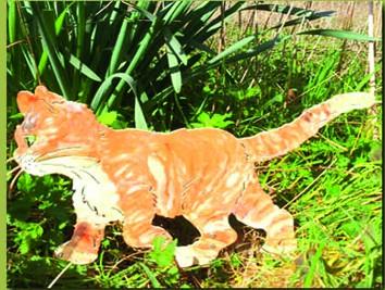 Katze Tiger Gartenstecker