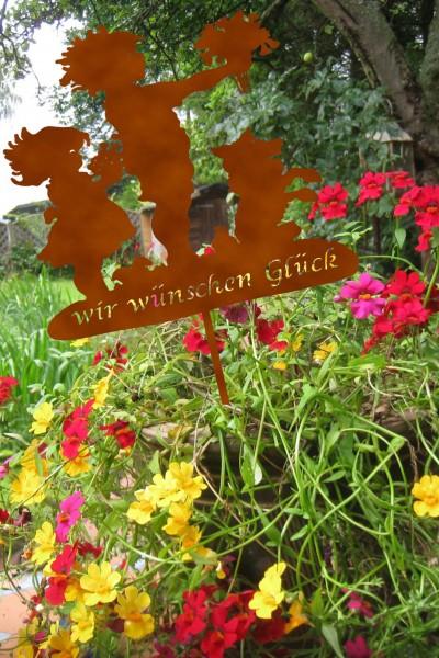 "Blumentopfstecker "" Wir wünschen Glück"""