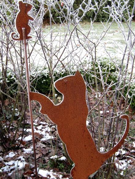 Gartenstecker Katze und Maus
