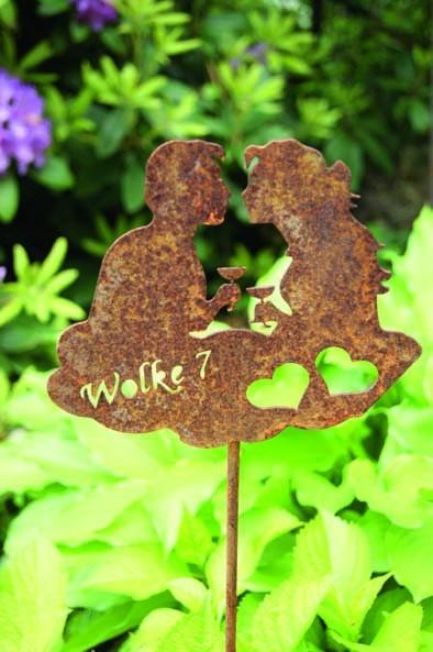 Edelrost Wolke 7 Gartenstecker Verliebte