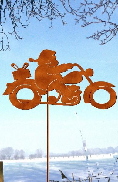 Gartenstecker Weihnachtsmann auf Moped
