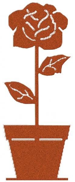 Gartendekoration Rose im Topf auf Platte