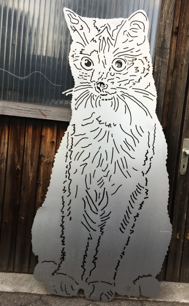 Sichtschutzelement / Zierelement Katze Kitty
