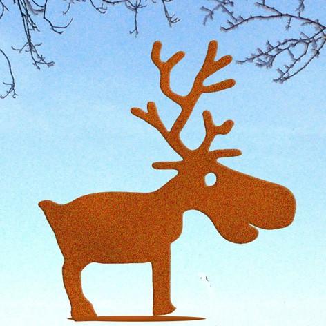 Weihnachtsdeko Rentier Rudolf auf Platte kl