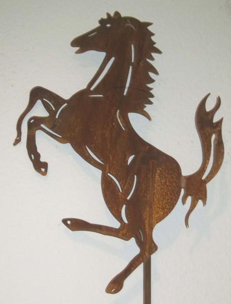 Edelrost Gartenstecker Pferd Fury 140 cm