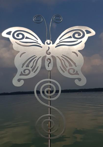 Edelstahl Gartenstecker Schmetterling